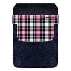 DekoPokit™ Leather Bottle Opener Pocket Protector w/ Designer Flap - Pink and Black Plaid