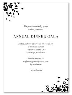 Black dress gala event invitations