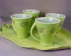 Leaf Cup and Tray Set by Runningrabbitpottery on Etsy
