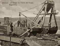 assembling a gold dredge in Tierra del Fuego - source: http://patbrit.org (The British Presence in Southern Patagonia website)