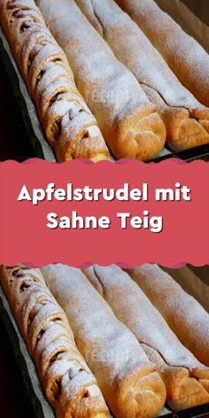 Apple strudel with cream dough - Ingredients For the dough: 500 g flour pack baking powder 1 pack whipped cream with fat - Easy Smoothie Recipes, Healthy Smoothies, Healthy Snacks, Snack Recipes, Apple Strudel, Coconut Smoothie, Pumpkin Spice Cupcakes, Cinnamon Cream Cheeses, Ice Cream Recipes