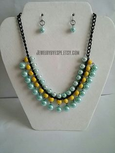 Hey, I found this really awesome Etsy listing at https://www.etsy.com/listing/245512934/turquoise-necklace-yellow-necklace
