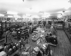 Interior view of Pep Boys auto parts store. 1940s.