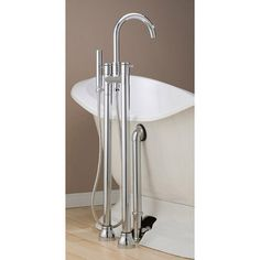 Cheviot Contemporary Floor Mount High Spout Clawfoot Tub Faucet with Handshower and Free Standing Supply Lines $803 Vintage tub