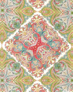 Damask Rose - Kerchief Paisley - Vanilla, 'Damask Rose' collection by Robert Kaufman Fabrics.