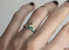 18k gold unique diamond ring with half moon diamond and small opal. IF YOU WANT…