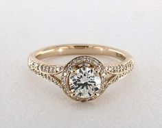 .9ct Halo Round Engagement Ring Yellow Gold