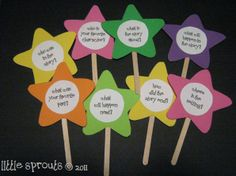 Cute question sticks.  Could be used for anything, story starters, reading comp questions, etc.. - Re-pinned by #PediaStaff. Visit http://ht.ly/63sNt for all our pediatric therapy pins