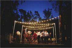 overhanging wedding lights