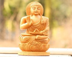 """SouvNear Small Buddha Statue in Wood - Hand-carved Wooden Buddha Figurine - 6"""" Buddha Decor Sculpture with Hand Raised in a Blessing Gesture"""