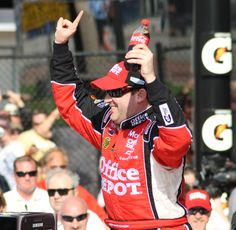 Tony Stewart celebrates winning  the first Gatorade Duel at Daytona International Speedway.