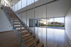 Architecture, Wooden Staircase Design With Grey Iron Railings And Laminate Floor Tiles Ideas: The Stunning Kavouri Residences by Kokkinou-Kourkoulas Architects