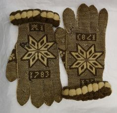 Why do they say 1783? Because that's when they were knitted, honestly. Nobody knows by whom, hence: Fries Museum Mystery Gloves