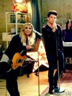 Adam Lambert & Demi Lovato On 'Glee' Set