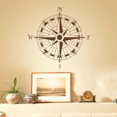 Amazon.com - Wall Decal Nautical Compass Vinyl Wall Art Graphic ...