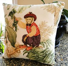 Mr. Monkey on White by thebeadedpillow on Etsy