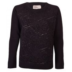 Leon and Harper Tulip Cutwork Sweatshirt in Black Iris