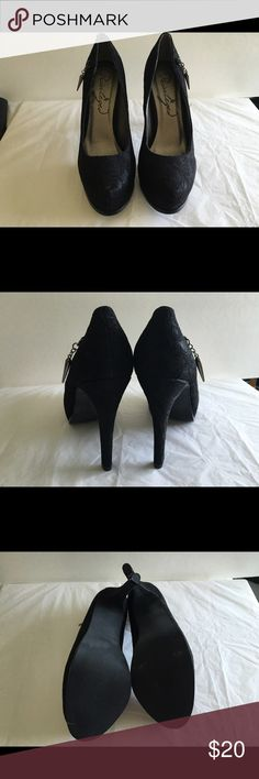 Black lace heels with charm Black lace heels with dangling charm on side of heel for eye catching movement. JustFab Shoes Platforms