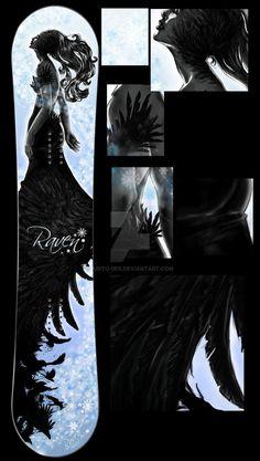 Projekt grafiki na deskę snowboardową na konkurs Raven'a Graphic design for snowboard in Raven contest