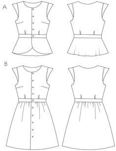 Patron PDF robe et blouse Gloria 6€95, en cherry viscose de chez cousette