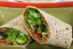 Cool Refried Bean Wraps. This could also be good with some marinated tofu/tempeh.