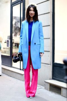 Neon Colorblock suit | Street #Fashion @ Couture Spring Summer 2013 #Paris #HauteCouture