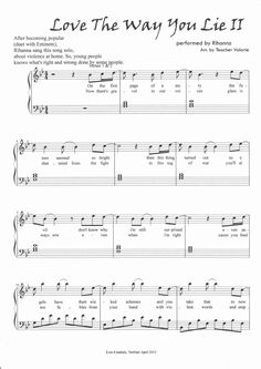 Love the Way You Lie Part 2 Rihanna Piano Sheet Music Score | Scribd