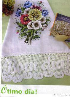 Luci Artes: PIntura em Tecido- Lindos Riscos de Flores  Gráficos Barrados em Crochê