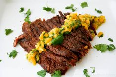 Sweet Basil: Grilled Flank Steak with Mango ChimiChurri Flank Steak Recipes, Easy Steak Recipes, Grilling Recipes, Beef Recipes, Healthy Recipes, Mango Chili Recipe, Mango Recipes, Water Recipes, Healthy Weekly Meal Plan