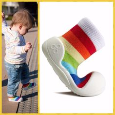 ATTIPAS RAINBOW YELLOW baby kids learning shoes fun non slip sole prewalkers