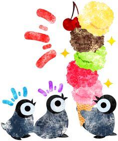フリーのイラスト素材可愛い赤ちゃんペンギンと大きなアイスクリーム  Free Illustration The pretty penguin babies and a very big ice cream   http://ift.tt/2arAG2T