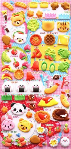 bento box lunch box sponge stickers and sticker book Japan