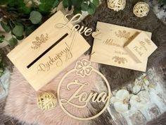 Zaproszenia ślubne laserowe, drewniane dodatki i dekoracje Studio, Save The Date, Place Cards, Place Card Holders, Pictures, Alcohol, Studios, Wedding Invitation