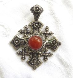 Vintage Jerusalem Cross Pendant, Carnelian Center Stone, 800 silver, Maltese Cross, Malta Cross #maltesecross #vintage #jewelry #sterlingsilver