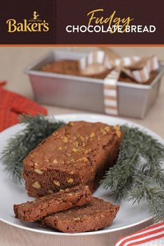 """Fudgy Chocolate Bread The perfect holiday bread for serving to guests or gifting to family and friends? This delicious, easy to make and unique Fudgy Chocolate Bread. So go ahead, """"bake"""" your holidays delicious! Christmas Desserts, Christmas Baking, Just Desserts, Dessert Recipes, Fudge Recipes, Bread Recipes, Chocolate Bread Recipe, Chocolate Cakes, Scones"""