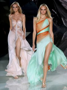 I want to wear the one on the right as a swimsuit coverup on an exotic beach somewhere!!! Right now!