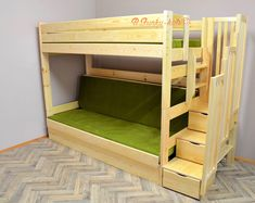 One of the strongest bunk beds on the market. Bunk bed for adults and children. High quality solid pine wood bunk bed with stairs complete with slats, drawer. Wood Daybed, Wood Bunk Beds, Bunk Beds With Stairs, Stair Drawers, Bed With Drawers, Mezzanine Design, Adult Bunk Beds, Junior Bed, Design Salon