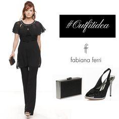 #Outfitidea... #black #Nero e #chic per questa morbida tunica in georgette con intreccio sul punto vita e ricamo prezioso, su pantaloni in jersey. Abbina il #sandalo modello chanel in satin nero, ricoperto da pietre strass, e #clutch in materiale lurex in tinta. #collezione #FabianaFerri #ShoesandBags #woman #donna #donne #femminilita #fashionaddicted #moda #modadonna #abbigliamento #clothing #atelier #stile #style #look #eveninggown #eleganza #minidress #abitodasera