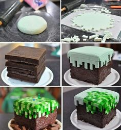 Mine Craft Birthday Cake For Minecraft FANS! Love this so much for my next B-day I want a Minecraft cake! Minecraft Torte, Minecraft Pasta, Easy Minecraft Cake, Minecraft Crafts, Minecraft Skins, Cake Cookies, Cupcake Cakes, Food Cakes, Cauliflower Cakes