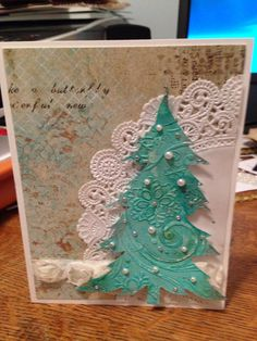 Tree card with color burst.