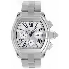 Cartier Stainless Steel Roadster Chronograph Mens Watch W62019X6 - Watches | Portero Luxury