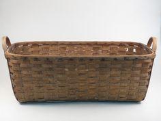 "Antique Harvest Gathering Basket Humongous Oak Splint Handmade Sturdy 33""x21""X11 | eBay"