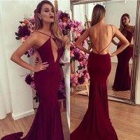 Hot Sexy Mermaid Open Back Sweep Train Long Burgundy Prom Dress
