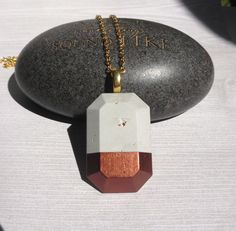 Cement copper dipped Necklace / Cement jewelry / concrete necklace / concrete jewelry / gifts for her / by BlueSouth on Etsy