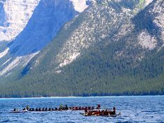 The Race is on. Banff National Park, National Parks, Dragon Boat, Racing, Mountains, Nature, Travel, Running, Viajes