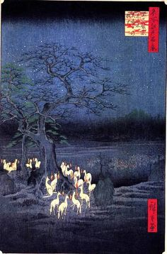 New Year's Eve Foxfires at the Changing Tree, Oji. Ukiyo-e print shows foxes gathered around a tree, breathing fire . Color woodcut by Andō Hiroshige. 118 in the series Meisho Yedo Hiakkei (One Hundred Famous Views of Edo), Hokusai, Illustration Art, Illustrations, Art Asiatique, Art Japonais, Japanese Prints, Japanese Fox, Japanese Wall, Japanese Poster