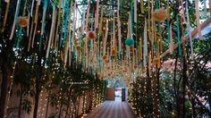 pom pom tunnel entrance way with fairy lights, Desi Wedding Decor, Winter Wedding Decorations, Wedding Scene, Wedding Bells, Wedding Ideas, Mehndi Decor, Mehendi, Colorful Centerpieces, Dream Catcher Decor