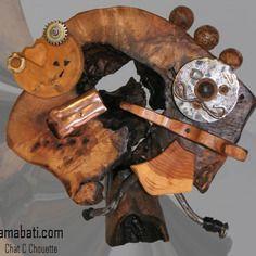 """Sculpture bois et métal """" chat c chouette"""", art singulier par amabati http://amabati.com"""