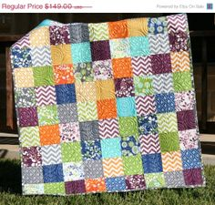 SALE Baby Quilt Simply Color Boy or Girl Unisex Chevron Crib Bedding on Etsy, $137.08