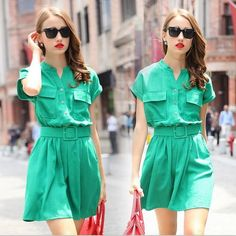 2015 Women Vintage Slim Linen Green Color Casual Dresses Woman Belts Pockets Ruffles Summer Fall Dresses V Neck Western Fashion Party Dress Online with $25.05/Piece on Smartmart's Store | DHgate.com